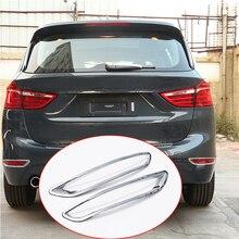 Для BMW 2 серии 218i 7 Стульчики Детские F45 f46 2015-2017 автомобиль-Стайлинг ABS Польский Серебро сзади туман лампа украшения полоски Рамки отделкой 2 шт.