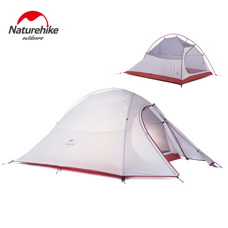 Naturehike nube UP2 2 Persona de la tienda impermeable 20D de silicona de la tela de doble capa de la tienda de Camping ligero sólo 1,24 kg NH