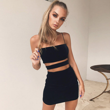 Sexy Suspender Dress European And American Summer And Autumn Fashion Black Tight-Fitting Slim Body Bandeau Waist Hollowing Dress