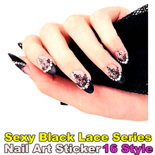 Black Lace Rhinestones Nail Art Sticker 16 Model 12pcs/set foils decals Summer style makeup beauty french manicure free shipping