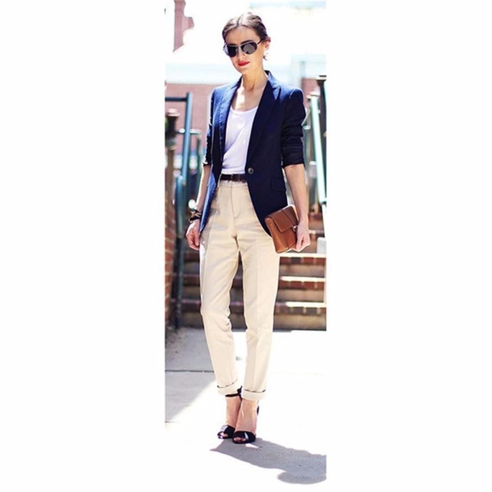 Hot Sale Custom Navy Blue Jacket Khaki Pants Women Business Suits
