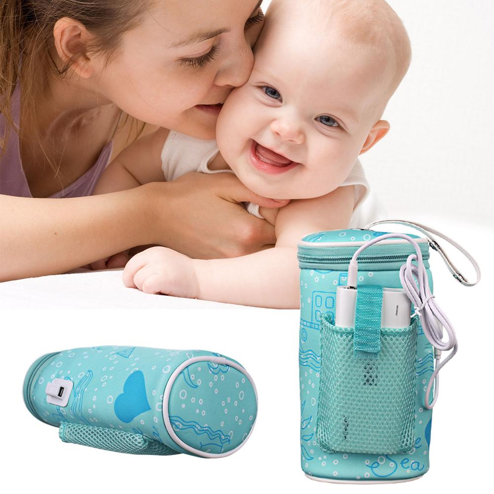 1PC Baby Outdoor Bottle Warmer Thermostat Bag Car Portable USB Heating Intelligent Warm Milk Tool Insulation Cover For Travel