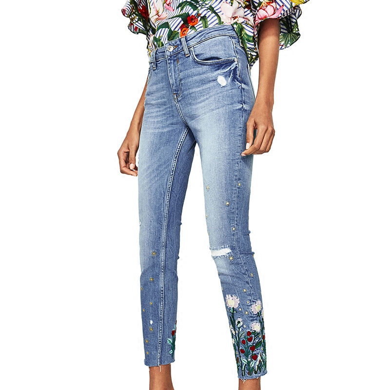 WISHBOP 2017 NEW DENIM Mid-rise jeans with floral embroidery Frayed hems Five pockets Knee Distressed Skinny Cropped Trousers