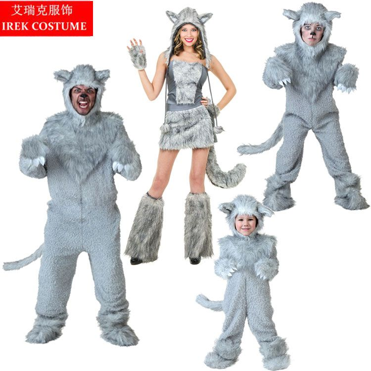 IREK hot Grey Wolf Halloween Costume Adult Children party cosplay costume top quality Stage performance clothes