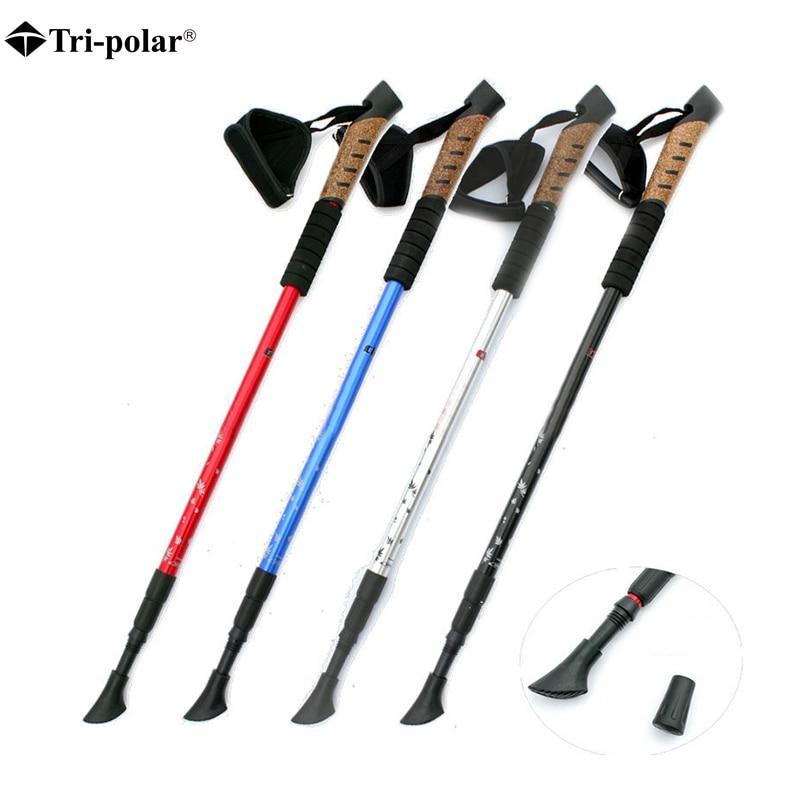 1 piezas nórdica bastón de senderismo Trekking palos Bastones de senderismo telescópica Polo bastón caminar nórdico Bastones de senderismo