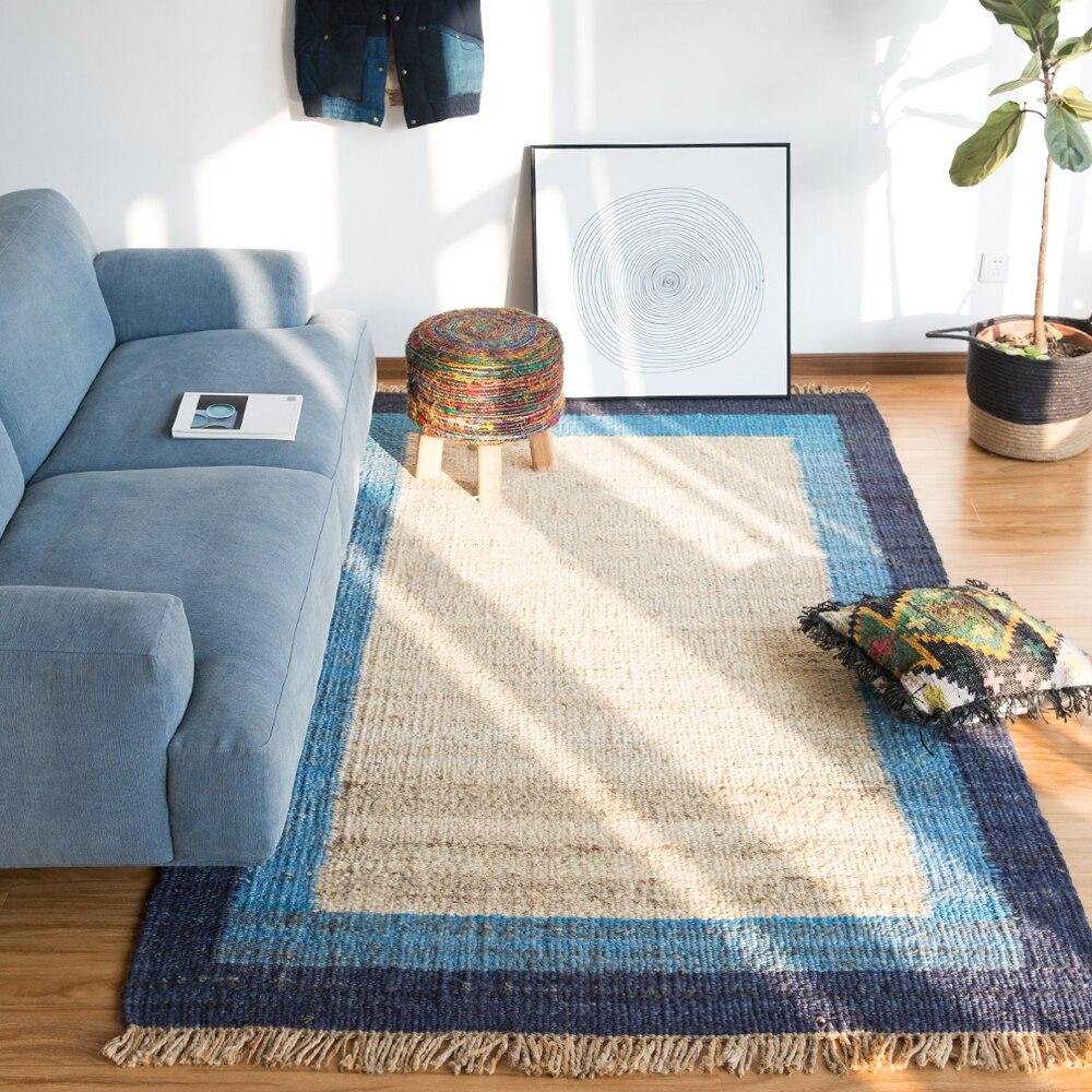 Kilim bohême 100% tapis fait main en lin géométrique tapis indien solide persan turc moderne design contemporain style nordique