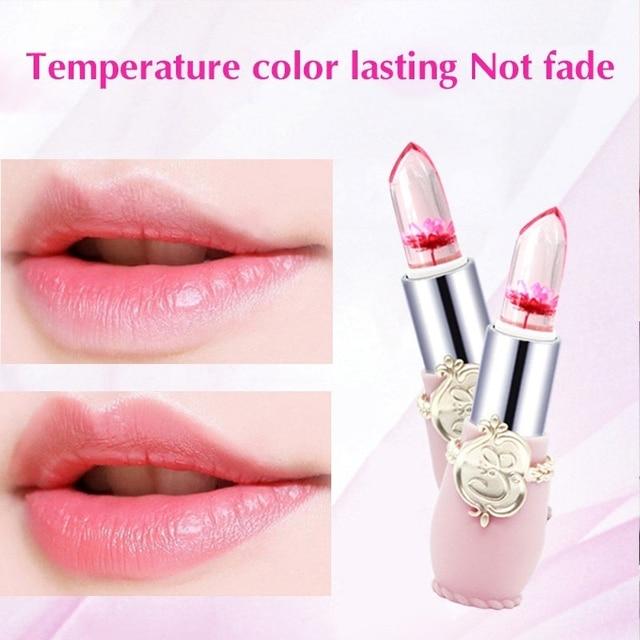 Beauty Lipstick Moisturizing Long Lasting Flower Crystal Jelly Lipstick Magic Temperature Color Changing Lip Balm Makeup 3