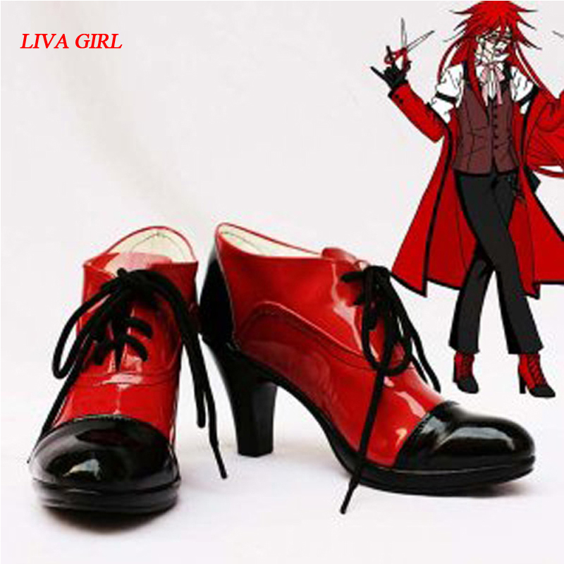 LIVE GIRL Customize Boots Black Butler Grell Sutcliff Cosplay Shoes Custom Any Size Anime Party Boots