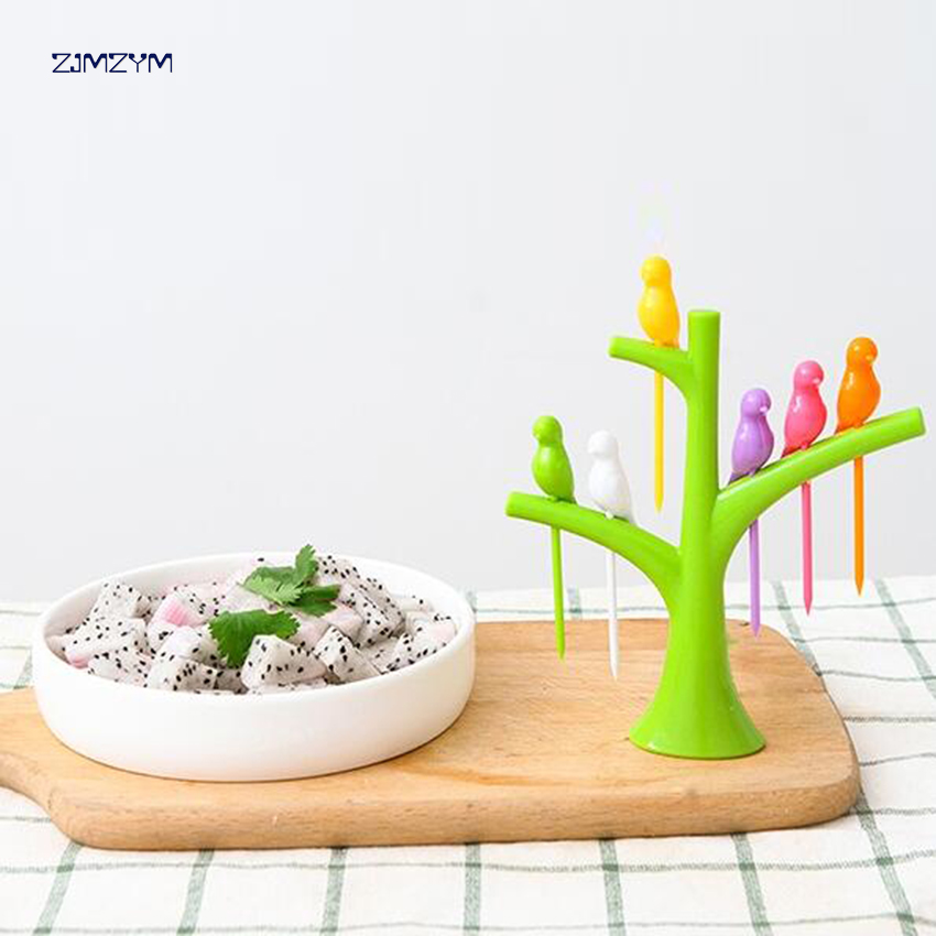 Dinnerware Sets Food Picks Tree Birds Design Plastic Fruit Fork 2018 New Hot Sale Dessert Fork Vegetable Food Fruit Fork Set