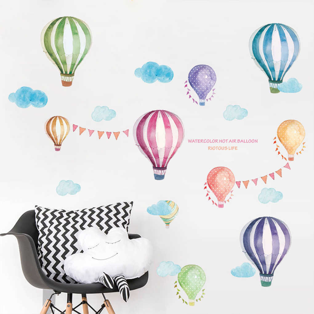 Removable Animal World Map Wall Sticker Hot Air Balloon Large Tree Decals Kids Room Preschool Education PVC Wallpaper