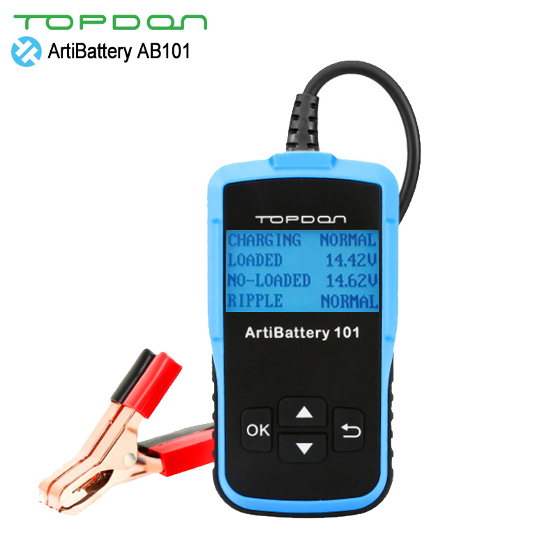 TOPDON ArtiBattery 101 8-16V DC Battery Tester Six Languages In/Out Vehicle tests Cranking/Charging Tester 10 Systems & Ratings ratings