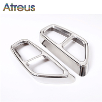 Atreus 1Pair Car Exhaust pipe Tail Throat Modified Stainless Steel Stickers For BMW 5 Series G30 2017 2018 5 Series Accessories