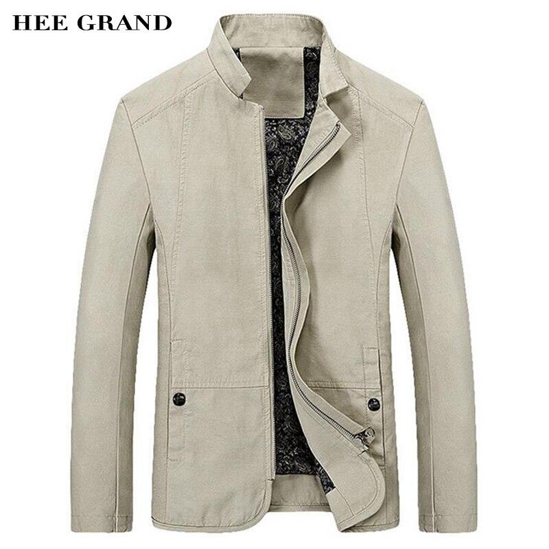HEE GRAND 2018 Printemps Automne Hommes de Veste Casual Slim Fit Solide Couleur Manteau Fermeture Éclair Col montant Outwear MWJ1778