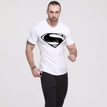 Men T-shirt Silm Fit Male shirt Cotton Fitness Short sleeve Suit Stylish Printed Bodybuilding Wear White Casual Solid Streetwear