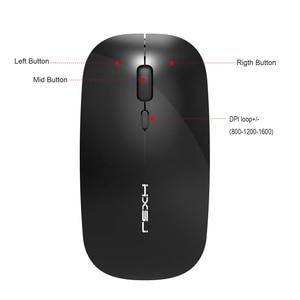 Image 3 - HXSJ 新ワイヤレスサイレントマウス充電式 usb タイプ c pc ノートブックオフィス黒最大 1600 DPI 調整可能な