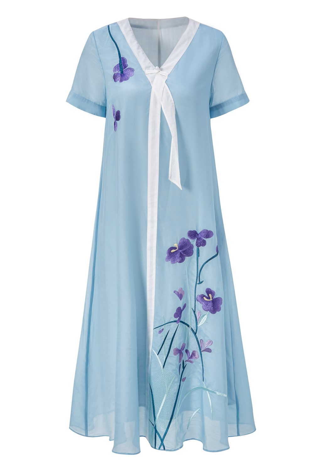 Free shipping Summer original design A Version Chinese style Hit color flower Embroidered big size dress for women - 4
