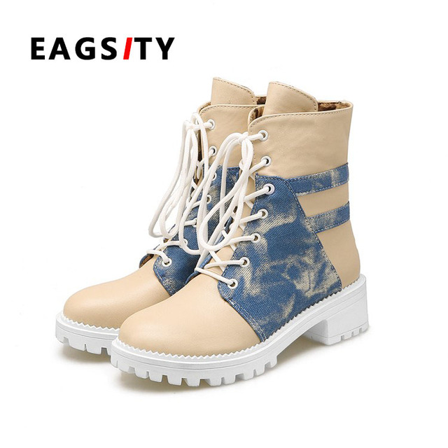 2d9e00f037cff Women Work Boots lady round toe canvas short winter snow denim boots high  top casual lace up low heel shoes denim