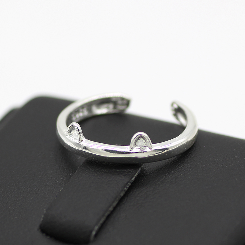 Fashion Simple Cat Ring Silver Color Dog Claw Paw Wedding Ring Female Girl Engagement Open Adjustable Size Ring Jewelry Gift in Engagement Rings from Jewelry Accessories