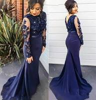 New Navy Blue Lace Mermaid Lady Dress Long Sleeves Beaded V Back Sweep Train Prom Party Dresses Bridesmaid Dress