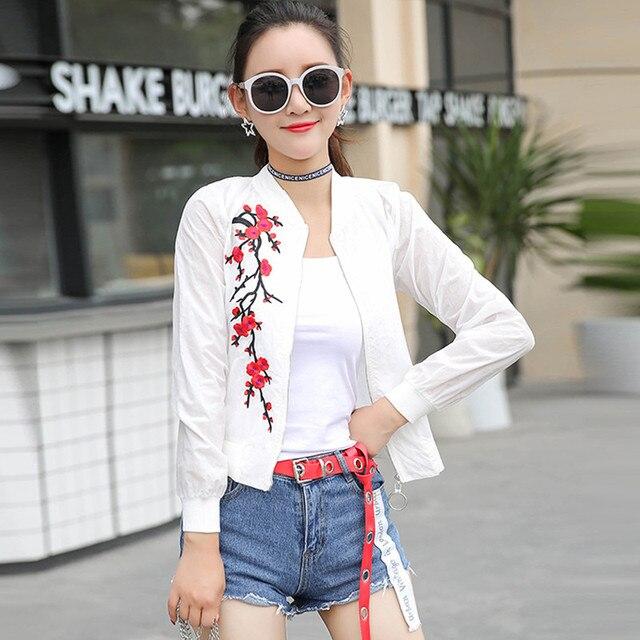 women basic coats 2018 spring summer fashion cropped embroidery bomber jacket ladies thin cropped baseball jackets bombers 3