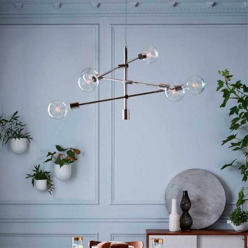 Nordic round glass ball ceiling hanging chandelier light lamp gold modern adjustable droplight simple hanging chandelier light nordic modern hanging