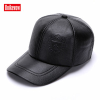 UNIKEVOW New arrivel Sport winter 100% leather baseball caps with Pressure label Casual winter hat warm caps for men golf hat