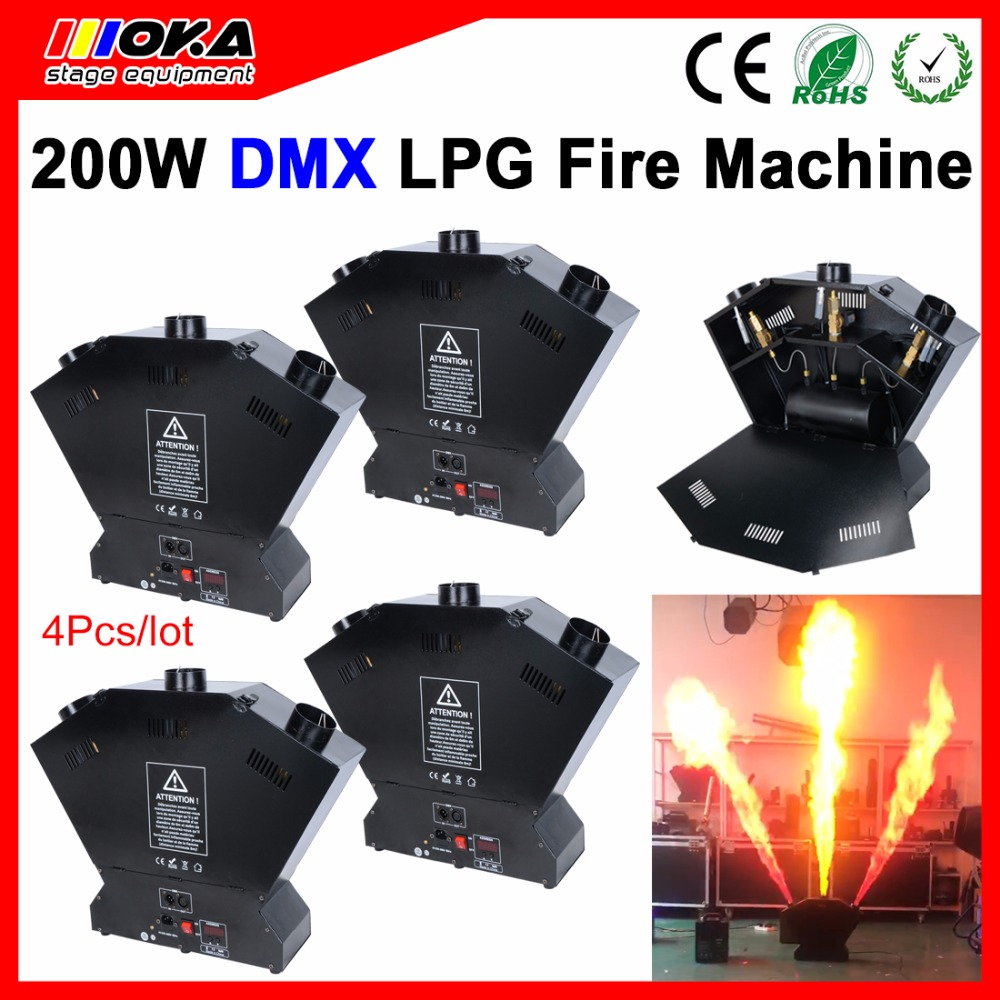 цена на 4 Pcs/lot 3 head fire machine lpg stage effect flame projector Stage spray fire machine for stage dj party club