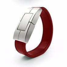 free shipping 4gb 8gb 16gb 32gb metal leather wristband usb flash drive for man