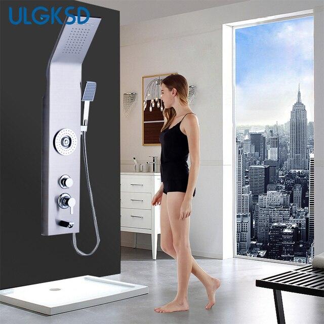 Ulgksd Promotion Shower Panel Waterfall Rain Shower Column Shower Faucet Massage Tub Spout Jets Tub Faucet Filler Mixer Tap