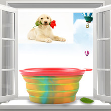 New Pet outdoor travel Portable Collapsible Silicone dow Bowls foldable Water Dish Dog Puppy Cat food container feeder Feeding