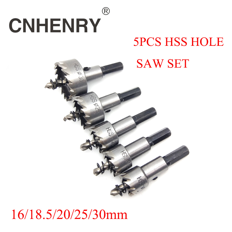 Free Shipping 5pcs 16/18.5/20/25/30mm Carbide Tip HSS Drills Bit Hole Saw Cutter Set For Cuttting Stainless Steel Metal Alloy binoax 5 pcs carbide tip hss drill bit saw set metal wood drilling hole cut tool for installing locks 16 18 5 20 25 30mm