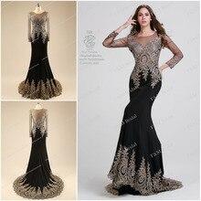 Elegante Schwarze Perlen Prom Dresses Long Sleeves 2014 Maß Spandex Mermaid Formale Abendkleider vestidos de fiesta