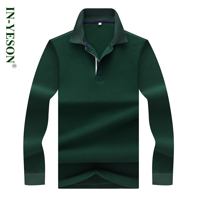 High Quality IN-YESON 2018 New Autumn Spring Men's   Polo   Shirt Brand Cotton Long Sleeve Elegant Casual Business camisa   polo