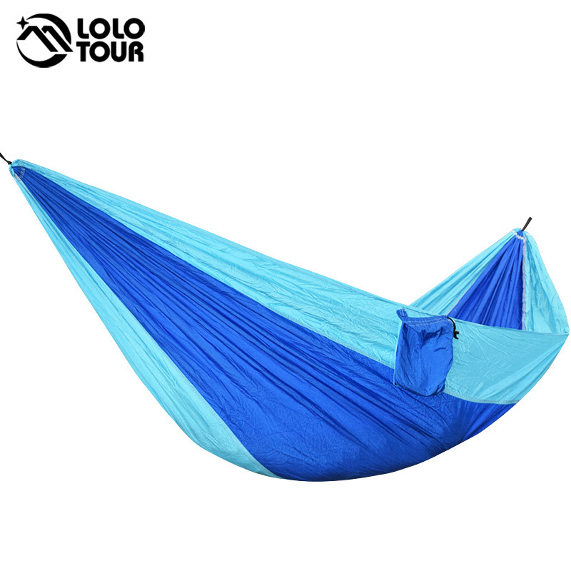 Outdoor Survival Camping Hammock 210T Polyester High Strength Parachute Hamac Hanging Sleeping Bed Single-Person Leisure Hamak 24 color 2 people portable parachute hammock camping survival garden flyknit hunting leisure hamac travel double person hamak