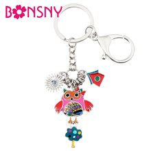 Bonsny Enamel Alloy Cartoon Owl House Tree Bird Key Chains Keyring Pendant Bag Car Charms Jewelry For Women Girls Teen Gift Bulk(China)