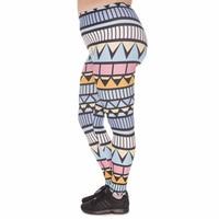Estiramento tamanho grande leggings femininos astec niebieski impressão de cintura alta plus tamanho calças para mulheres gordas