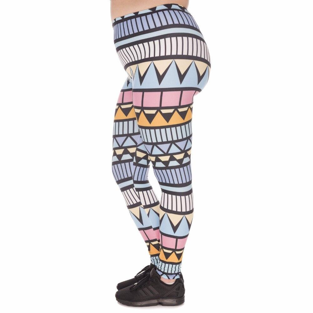Stretch Large Size Women Leggings Aztec Niebieski Printing High Waist Plus Size Trousers Pants For Plump Women