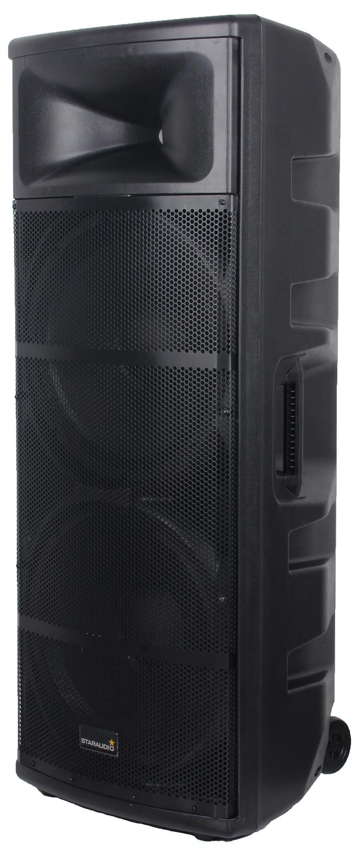 staraudio dual pro 5000W dual 15 powered pa stage speaker usb sd bluetooth led rgb light 2ch vhf wireless mics system