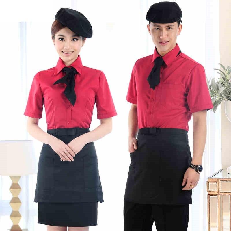 (10 Set-shirt & Schort) Obers/serveerster Overhemd Met Schort Vrouwelijke/mannelijke Stijl In 4 Kleuren Kiezen Groothandel Prijs Door