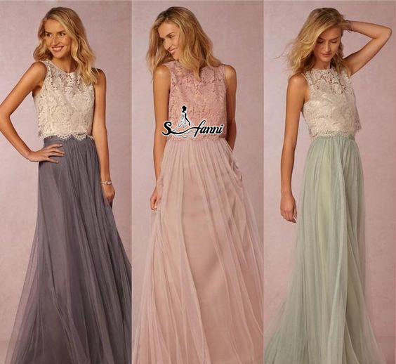 Vintage Two Piece Bohemian Beach Bridesmaid Dresses Lace Top Long Country Maid Of Honor Gowns Mixed