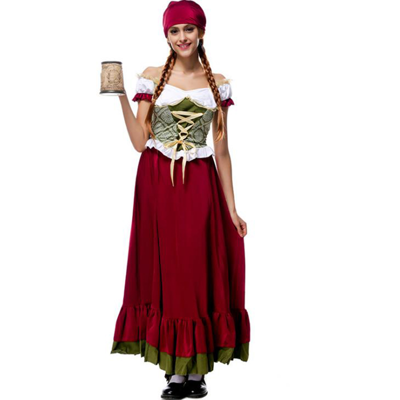 Bavarian Traditional National Costume Lady Oktoberfest Beer Maid Costume Long Skirt With Headpiece Halloween Costume Women