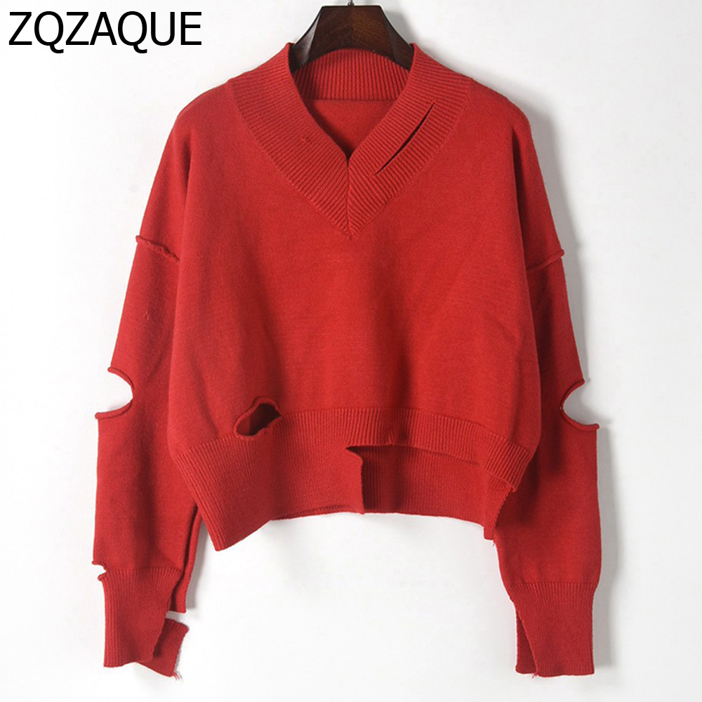 Trendy New Asymmetric Hollow Out Hole Sweaters Women Sexy V-neck Unique Design Loose Pullovers Fall Winter Knit Jumpers SY1480