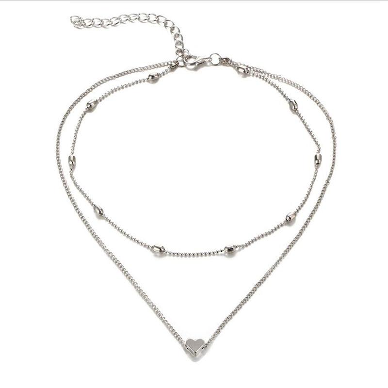 RscvonM Brand Stella DOUBLE HORN PENDANT HEART NECKLACE GOLD Dot LUNA Necklace Women Phase Heart Necklace