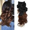 Dois Clipe Tom em extensões do cabelo humano 7 pcs 120g onda do corpo grampo no cabelo Brasileiro virgem clipe humano no cabelo para preto mulheres
