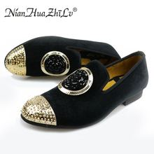 New fashion gold top and metal toe men velvet dress shoes casual
