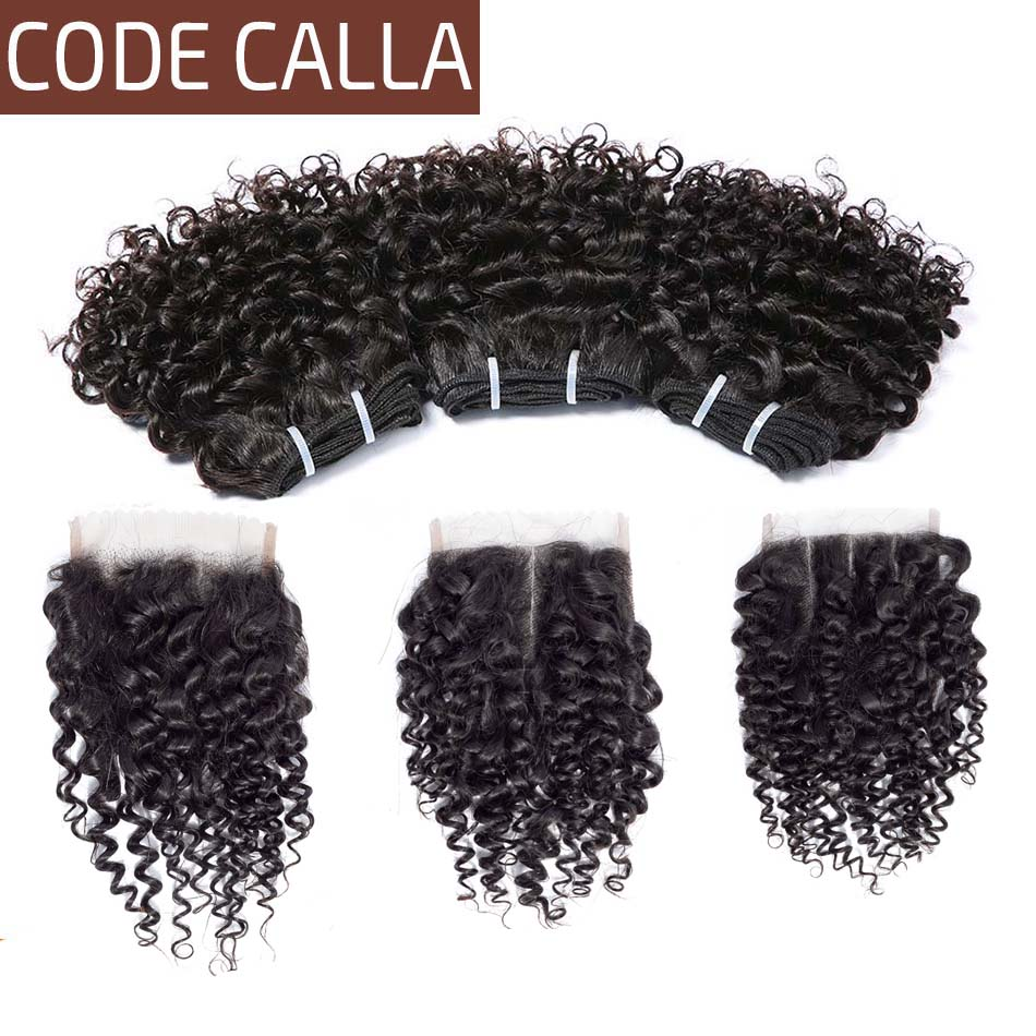 Brazilian Kinky Curly Hair Weave Bundles With Lace Closure Code Calla Double Drawn Weft Remy Human Hair Extensions With Closure