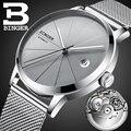 Schweiz Automatische Bewegung BINGER Top Marke Luxus Männer Ultra dünne Grau Mechanische Uhr Edelstahl relogio masculino|Mechanische Uhren|   -