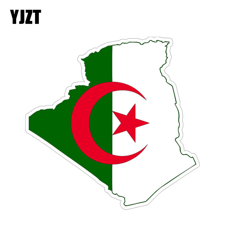 YJZT 14.2CM*14.2CM Personality Algeria Flag Map Body Car Sticker Creative Decal 6-1217