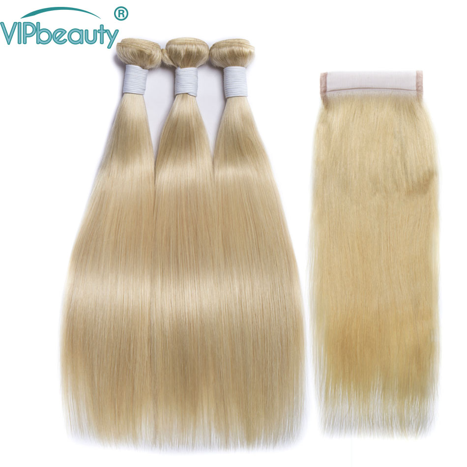 Vip beauty Brazilian straight hair 3 bundles with closure blond color 613 bundles with closure remy
