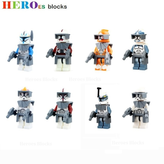 Star Wars The Force Awakens Clone Storm trooper Pilot Building Blocks Commander Fox Rex Figure Bricks Toy gift Compatible Legoed